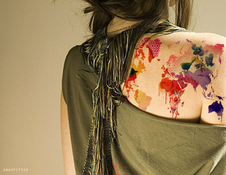 Watercolour world map tattoo. Now this is one beautiful piece of artwork.