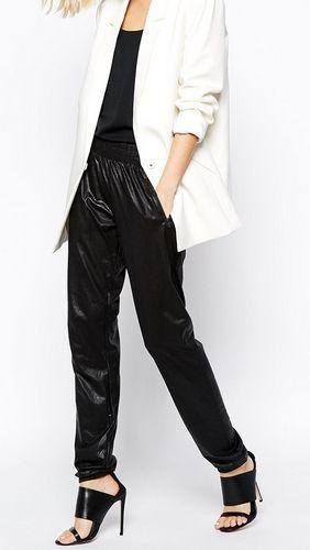 Gestuz Tallulah skórzane spodnie czarne Pants in Leather Look
