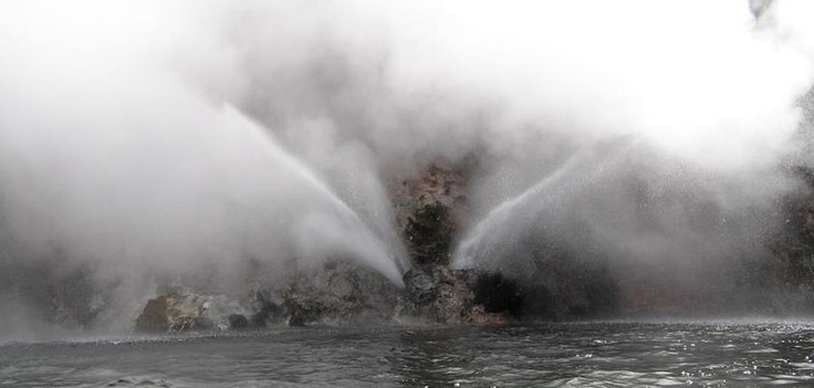 How amazing is this?  A new geyser has formed on the shores of Lake Rotomahana at Waimangu Volcanic Valley, Rotorua, New Zealand