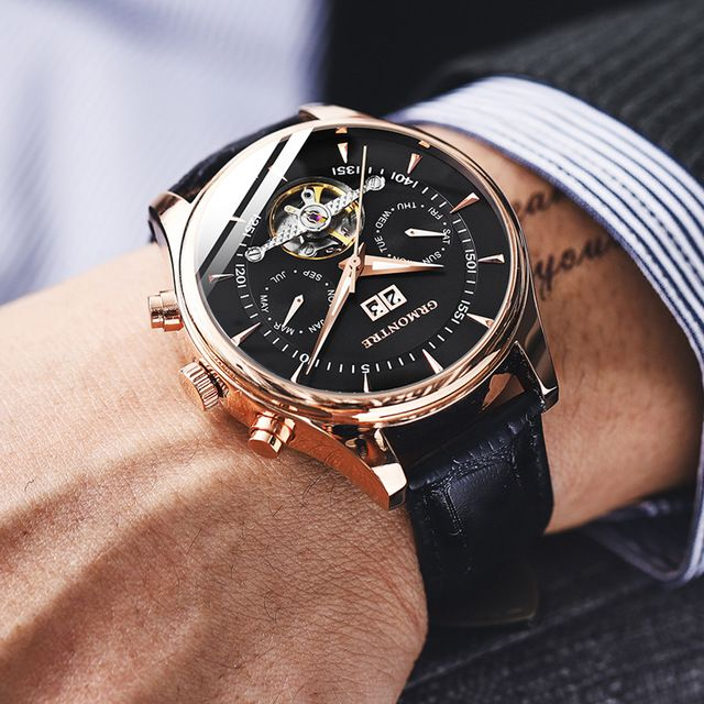 Skeleton Tourbillon Mechanical Watch Men Automatic Classic Rose