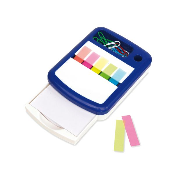 COD.EO032 Memo Set 4 Funciones. Incluye dispensador de block de hojas blancas. 5 Blocks autoadhesivos de diferente color. Compartimento para clips. Clips de diferentes colores. Porta lápiz.