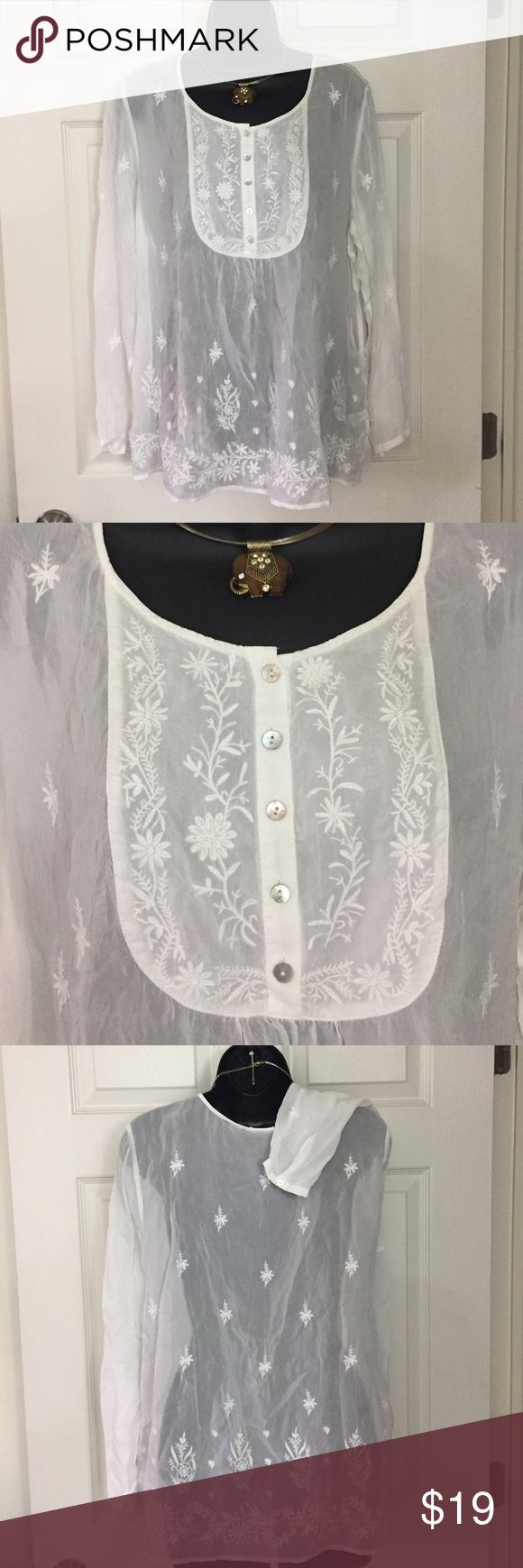 J.Jill uncommon threads top White semi sheer top with beautiful embroidery. J. Jill Tops