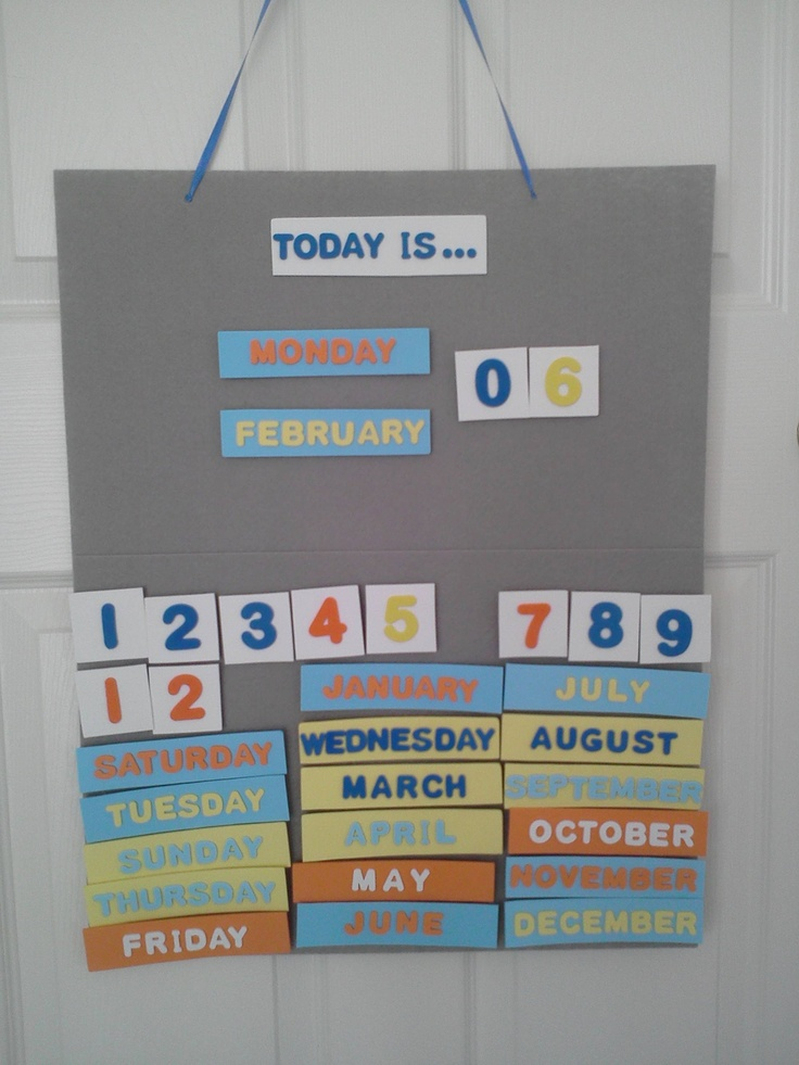 """My version of a perpetual calendar to help my nearly 3 1/2 year old learn days and months.  He is always asking, """"What day is today?""""  Now he can see himself!  Materials: foam stickers, felt board, velcro and a little hot glue! ... Uploaded with Pinterest Android app. Get it here: http://bit.ly/w38r4m"""
