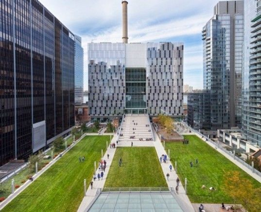 John Jay College of Criminal Justice, New York, NY - Urban Design Merit Award Winner...The college's newly built 625,000 square foot building doubled the size of John Jay's previous campus with additional class rooms, laboratories outdoor dining and public spaces. A roof terrace features 65,000 square feet of landscaped grassy zones for outdoor student and faculty gathering.