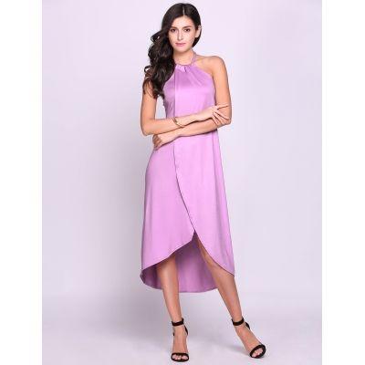 Purple Halter Sleeveless Irregular Out Dress   cndirect.com