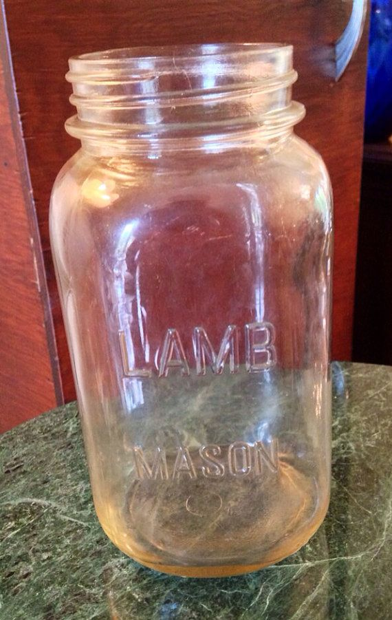 Reserved Antique Vintage old early clear glass Lamb 1 quart square canning mason jar bottle jug container pink tint