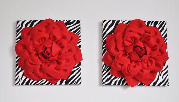 Zebra impresión y rojo flores arte de cebra cebra