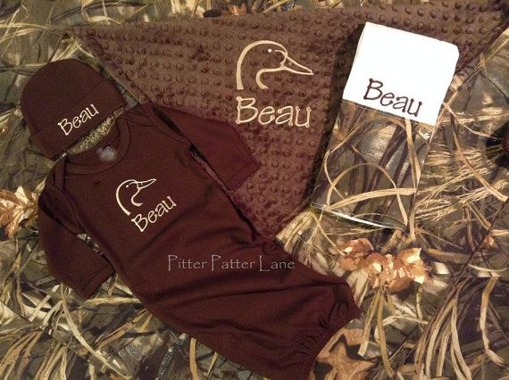 Ducks Unlimited Baby Boy Gift Set - Real Tree - Max4 HD Camo - Personalized Blanket, Layette Gown, Hat and Burp Cloth - Duck on Etsy, $75.00