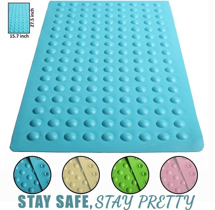 Brooklyn Ice 15.7X27.5-Inch Anti Slip Suction Bath Mat, Blue [Stable Footing]