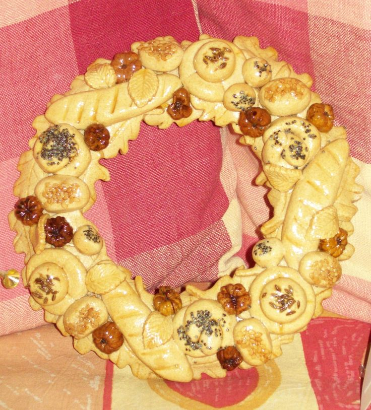 Homemade Salt Dough Bread Wreath using seeds and pods. By Fir Cone Country Crafts