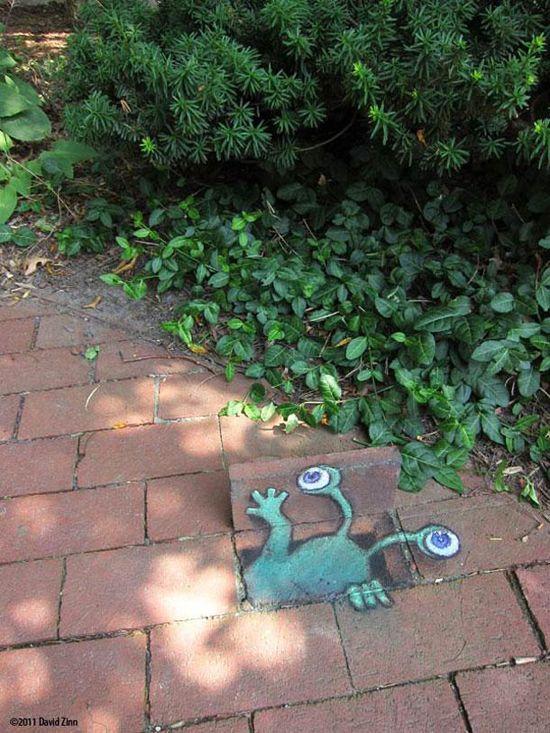 Chalk Street Art – 30 adorable creations by David Zinn #streetart #chalk