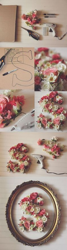 Simple DIY! The dollar store oftentimes has gorgeous flowers, thrift stores always have vintage frames, and for those who want something a little sturdier than cardboard for the letter, Michaels or JoAnn's carry wooden letters in all sizes!
