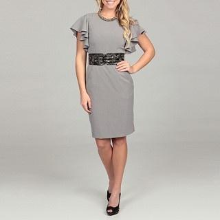 Calvin Klein Women's Career Lux Ruffle-sleeve Belted Dress