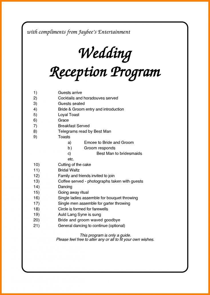 Wedding Reception Order Of Events Ceremony Programs Order Of Wedding Reception Wedding Reception Program Reception Order Of Events