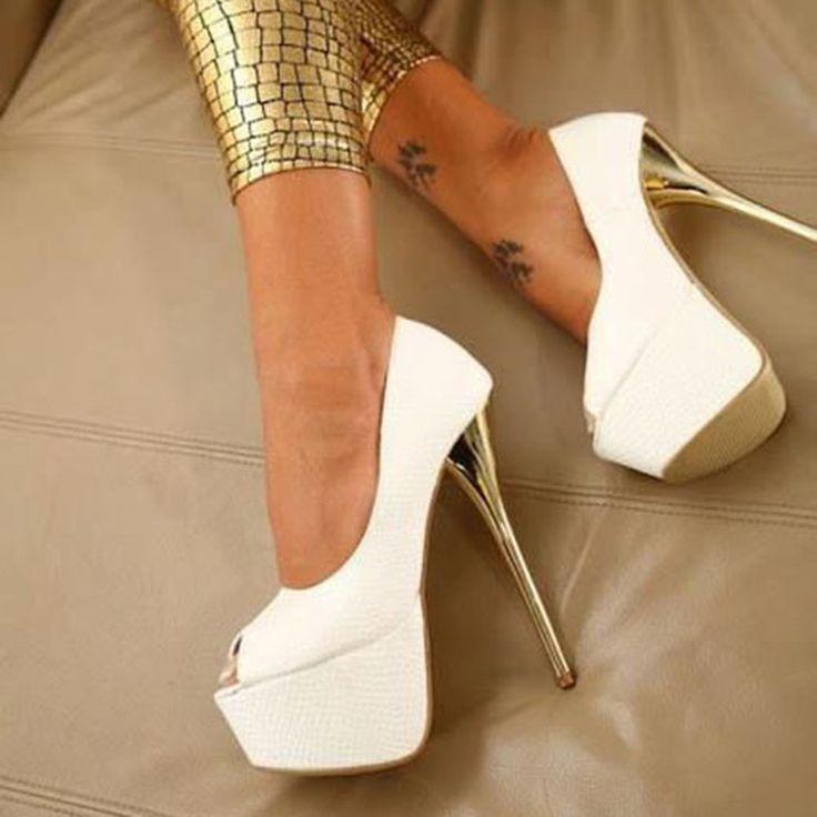 Shoespie Chic White Color Peep Toe Platform Heels
