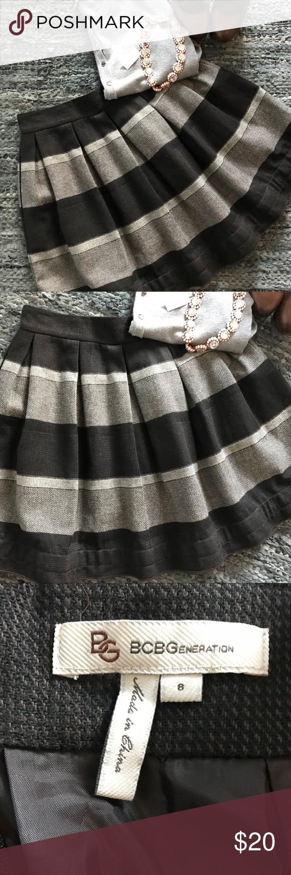 """BCBGeneration fit and flare fall skirt Size 8 Adorable skirt that has a wool look but is washable!  Skirt is about 19"""" long. Necklace and Philosophy sweater under separate listing - bundle for a discount! BCBGeneration Skirts Circle & Skater"""