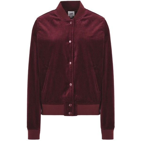 Vans Jacket ($146) ❤ liked on Polyvore featuring outerwear, jackets, maroon, bomber jackets, velvet jacket, brown velvet jacket, brown jacket and single breasted jacket