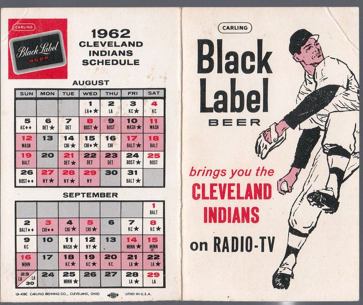 1962 CLEVELAND INDIANS CARLING BLACK LABEL BEER BASEBALL POCKET SCHEDULE  #Schedule