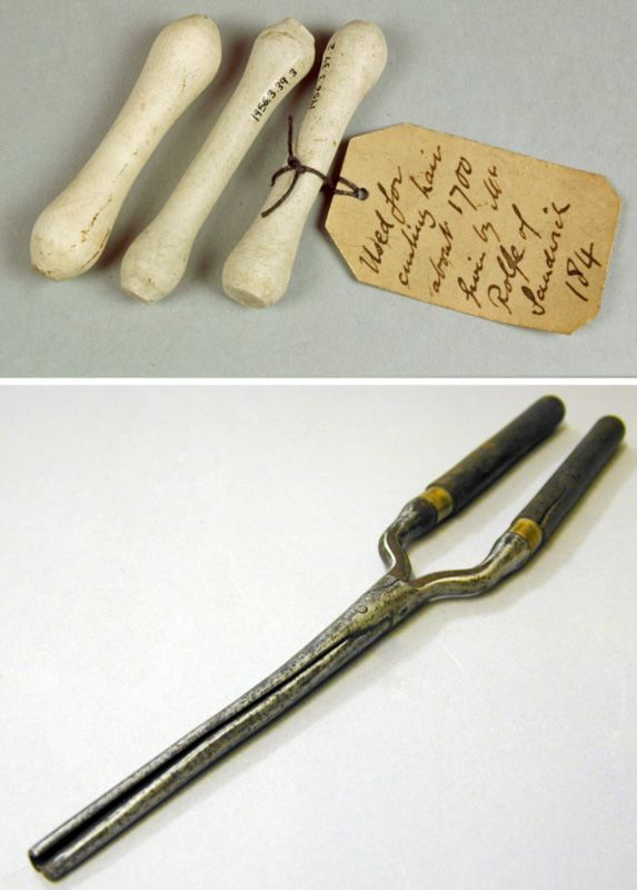 Pipe-clay curlers used around 1700; tongs used from 16th century to 19th century