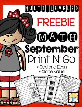 Enjoy this free sample from my September Print N' Go Odd and Even Numbers & Place Value Packet! If you like what you see I hope you'll check it out here: September Print N' Go Odd and Even Numbers/ Place Value