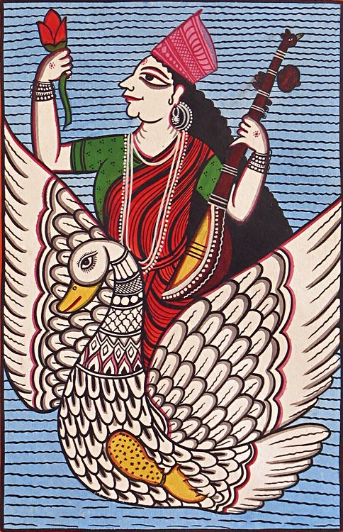Saraswati - Goddess of Music and Knowldge (Kalighat Painting - Water Color on Paper - Unframed))