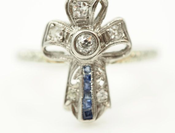 1890's Antique Bow Engagement Ring with by VermaEstateJewels
