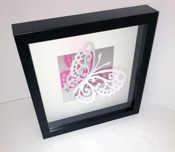 Glinting wings – 3D lace butterfly on brushed silver effect vinyl background in a box frame – pink