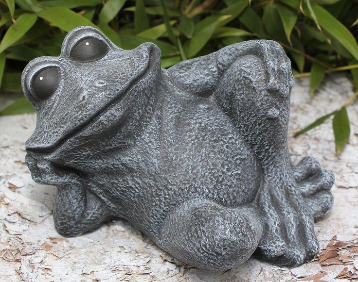 Statue en pierre grenouille assise, gris ardoise, pierre reconstituée: Amazon.fr: Jardin