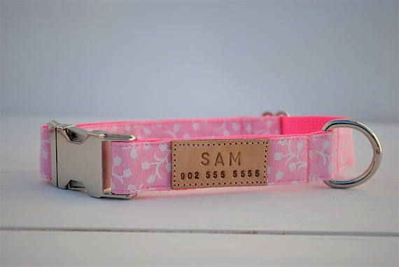 Pink floral dog collar, dog collar with flowers, tulips, pink dog collar, dog collar for girls, female dog collar, spring dog collar, blush