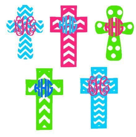 This cross monogram template is an instant DIGITAL DOWNLOAD file to be cut out with a Silhouette electronic cutting machine. Actual decals are not
