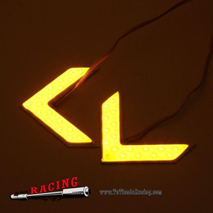 2,96€ - ENVÍO SIEMPRE GRATUITO - 2X Flechas LED 18SMD COB en Forma de Flecha para Luces Intermitentes Espejo Retrovisor - TUTIENDARACING