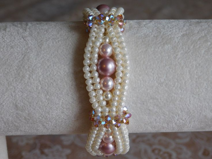 Beaded Bracelet Tutorial, Pattern, Instructions, Jewelry, Swarovski Pearl, Bicone, Seed bead, Beadweaving, DIY, PDF, Digital Download by poetryinbeads on Etsy https://www.etsy.com/listing/263968700/beaded-bracelet-tutorial-pattern