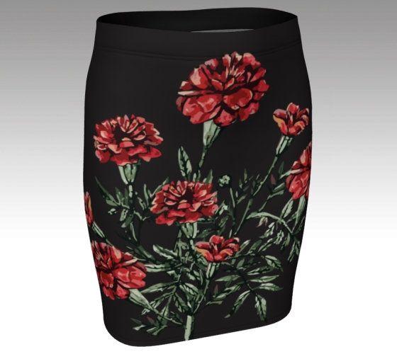 Knit pencil skirt womens girls stretch skirt knee length kitsch custom print skirt marigold color-pop graphic casual everyday wear