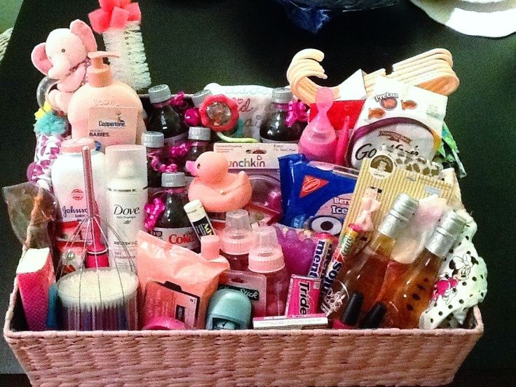 My basket for the mommy to be in the hospital room.  A little bit for the mom and a little but for the baby:)