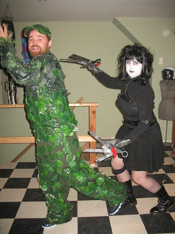 Pin for Later: 100 Creative Couples Costume Ideas Edward Scissorhands and Bush Source: B Is For Becky