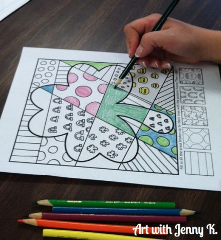 "Interactive St. Patrick's Day ""Pop Art"" coloring sheets. One of a variety of St. Patrick's Day art resources available from Art with Jenny K. Fun for kids, easy for teachers!"