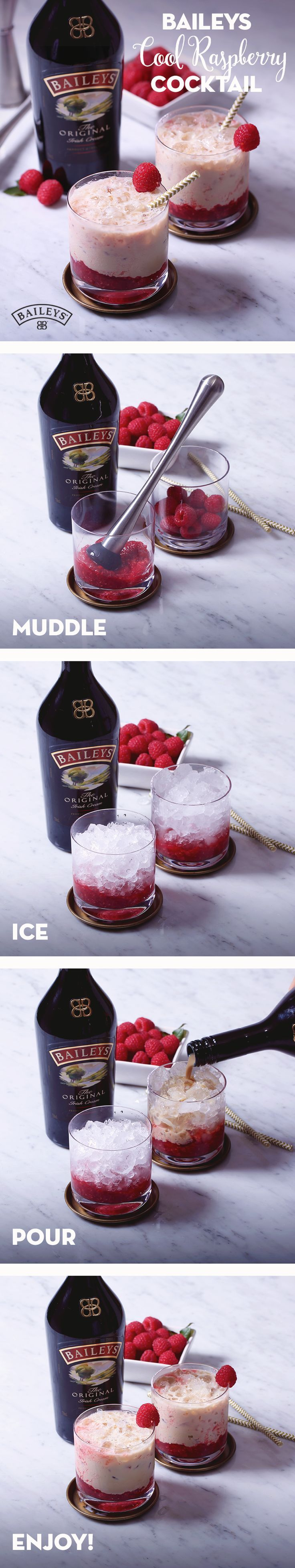 Three-day weekend coming up? Sweeten up your day off with this simple and easy Cool Raspberry cocktail recipe. Made with crushed ice, raspberries and Baileys, it's the perfect cold, refreshing tasting (Cool Summer Ideas)