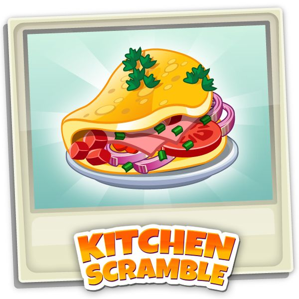 Stay true to the name of the game and whisk and fry up this Southwestern Omelette in Kitchen Scramble! #simulationgame #socialgame #iOS #Android #Facebook #Amazon #Kitchenscramble #Omelette