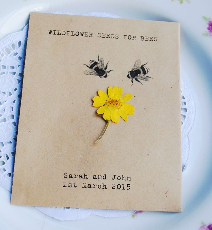 We think these seed packet favours are so unique and unusual! The seed packet is personalised with your wedding details and is made from recycled paper. The wildflower seeds are inside in a sealed plastic wallet and are perfect for bees - they love them! The seeds comprise White Clover, Red Campion and Selfheal - all will come up year after year and can also ...