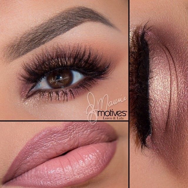 "Shadows/Vino, Pink Diamond & Allure paint pot Lashes/@Flutterlashesinc ""Kamilla"" Lips/Mocha lip liner and Silouette lipstick #elymarino #motivescosmetics #flutterlashesinc"