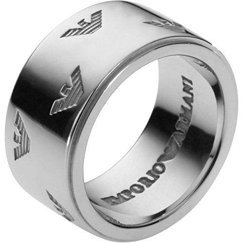Mens Armani Sterling Silver Size U Signature Eagle Ring EG3029040512  Price…