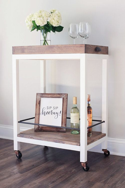 DIY Bar Cart! How to build a bar cart for less than $50. Click for the free build plans! Rustic Bar Cart. Wine Bar Cart.