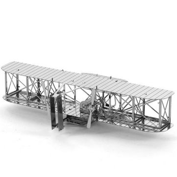 Aipin DIY 3D Puzzle Stainless Steel Model Kit Mini Biplane Silver Color Sale - Banggood.com