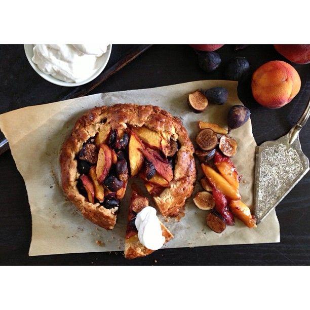 peach fig galette w/ coconut whipped cream (gf)
