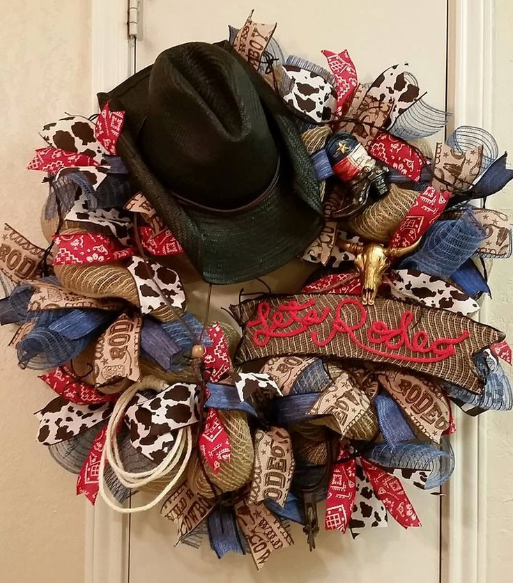 Rodeo Wreath, Western Wreath, Burlap Western Wreath,Ranch Decor, Rodeo Decor,Cowboy Wreath,Rustic Decor,Country Decor,Birthday,Father Day by SouthTXCreations on Etsy