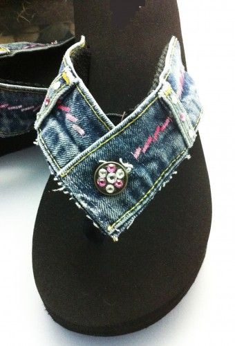 The Riley ~  Size 10 Reclaimed Blue Jean Denim Flip Flop Thong Sandal Womens Shades of Pink Embroidery & Clear Diamond Swarovski Crystals