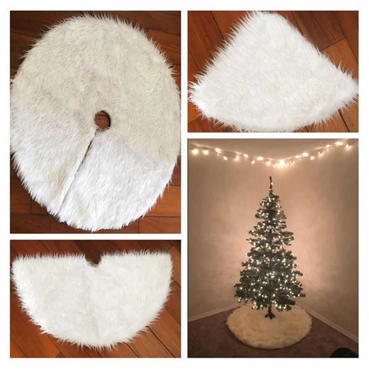 Christmas Tree Skirts White Fur Carpet XMAS Decoration Merry Supplies Home Outdoor Decor Event