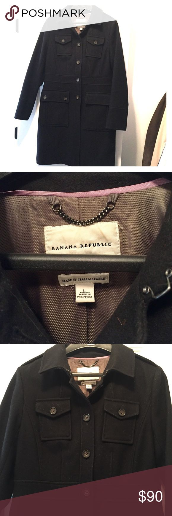 Banana Republic Military Style Topcoat Black, sleek design with clean lines. Military inspired details. This item is like new, without tags! Banana Republic Jackets & Coats