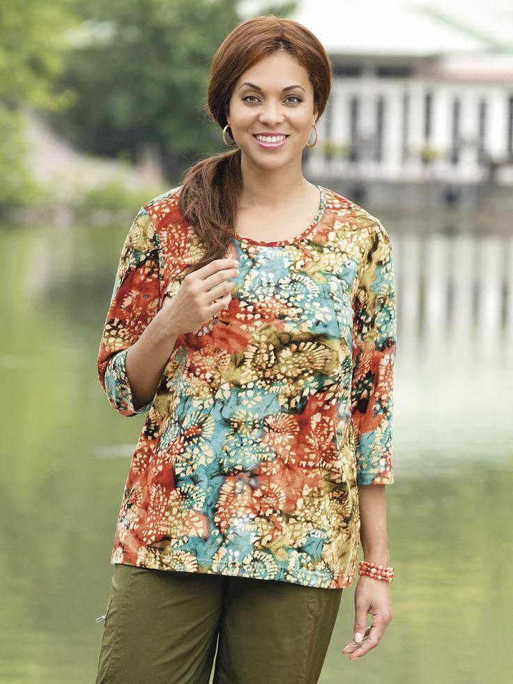 #Women's #PlusSize Bora Bora Batik Knit #Tee