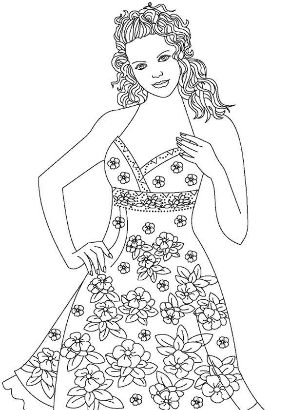 Ausmalbilder Topmodel 02 Bunte Mode Models Kostenlose Erwachsenen Malvorlagen